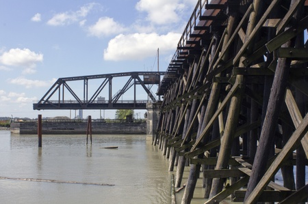 span: Low Angle of a Train Swing Bridge