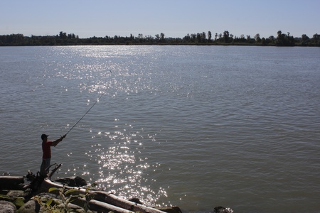 Fishing by the Fraser River photo