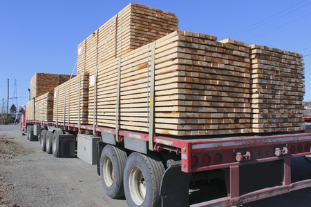 Rear View of Large Lumber Hauling Truck