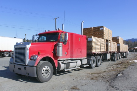 Large Lumber Hauling Truck