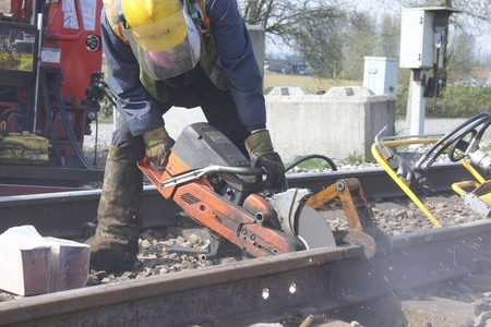Useing Cutting Tool on Railway Track