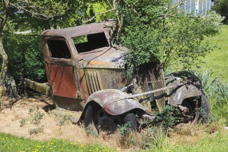 abandoned car: Abandoned and rusted old Car