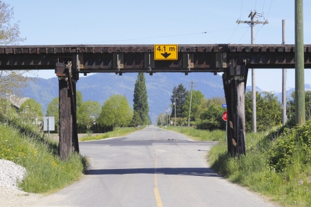 Railway Trestle over Road Stock Photo