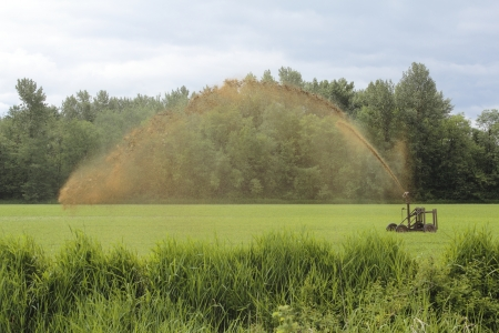 treatment: A machine used for festilizing farm land Stock Photo