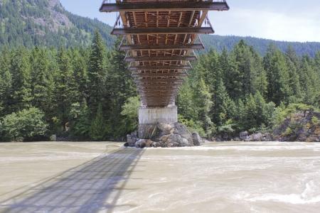 fraser river: Beneath the Historic Alexandra Bridge in southern British Columbia