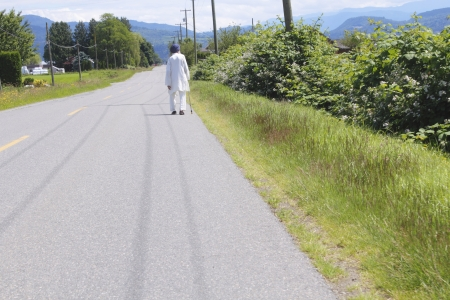 headress: A lone Indo-Canadian walks on a rural road