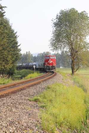canadian pacific: A Canadian Pacific Train rounds the bend with a freight.