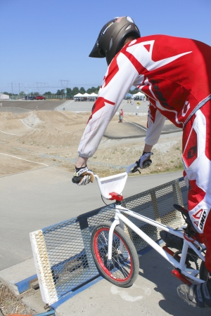 A child at the starting line at a local BMX competition in Abbotsford, British Columbia on August 11, 2012.