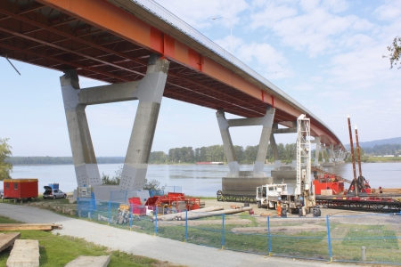 seismic: Equipment is in place for seismic upgrading for a bridge