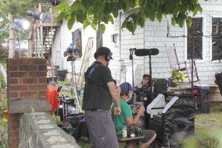 VANCOUVER, CANADA - 21 augustus 2012 - Een filmploeg voorbereiding van hun volgende scène voor een film van de week (MOW) in Vancouver, British Columbia. Redactioneel