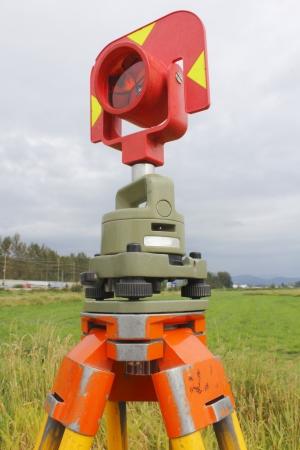 medium shot: Medium shot of a surveyors prism