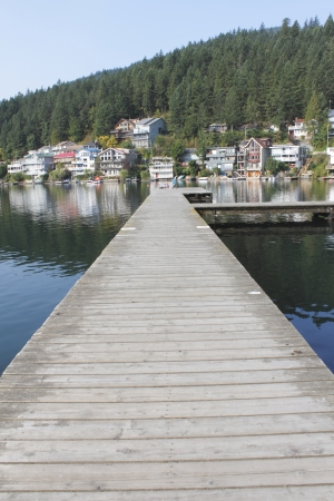 long lake: Vertical view of a long, narrow dock stretching out onto a fresh water lake