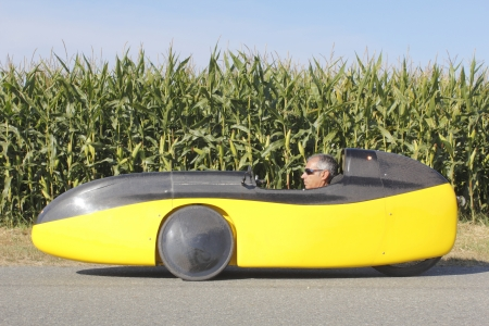 three wheeler: Full Length View of a Bicycle Car