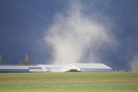 A dust devil churns up the dry, parched land