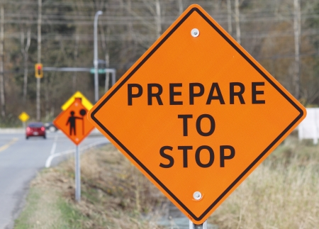 Construction road signs warn oncoming motorists Stock Photo