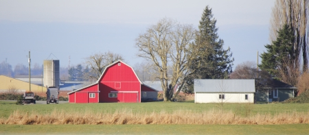 family owned: Neat and prim buildings on a small country farm present rural living in Canada