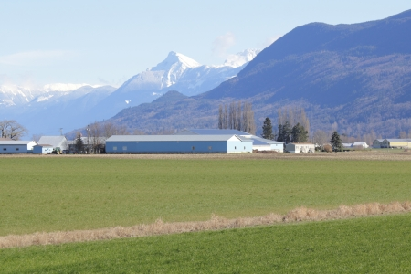 Rich landbouwgrond omvat de Fraser Valley in Canada en Zuid-British Columbia Stockfoto