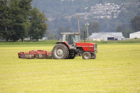 seeding: A tractor rolls or flattens the land to prepare it for spring seeding