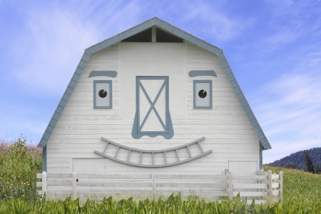 A smiling barn greets the viewer   photo