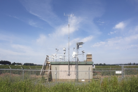 An airport weather station monitors weather conditions for in-coming and out-going flights   Stock Photo