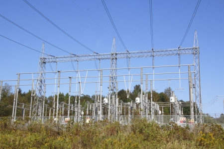 electric grid: A hydro electric sub-station used to distribute and process hydro electricity