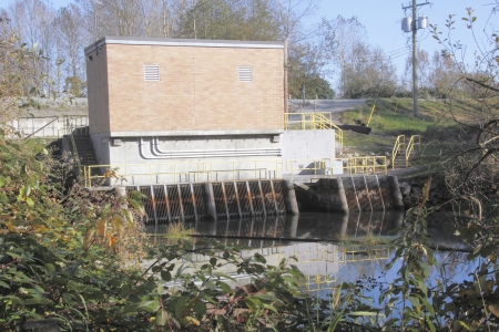A water pump station used for water levels in a slew