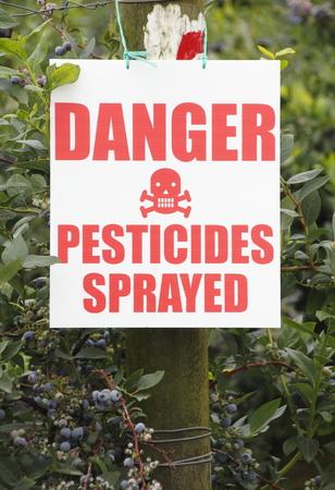 대중에게 블루 베리 작물에 살충제가 뿌려 졌음을 경고하는 표시가 있습니다.