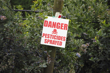 A sign warns the public that the blueberry crop has been sprayed with pesticides