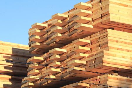 neatly stacked: Lumber neatly stacked in a lumberyard. Stock Photo