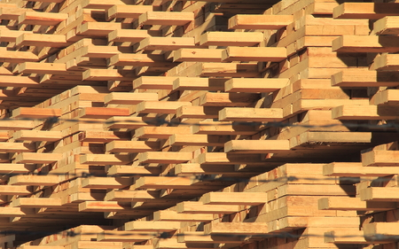 neatly stacked: Hundreds of boards of manufactured lumber are neatly stacked in a lumberyard Stock Photo