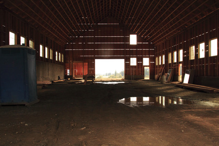 Inside look at a barn under construction.