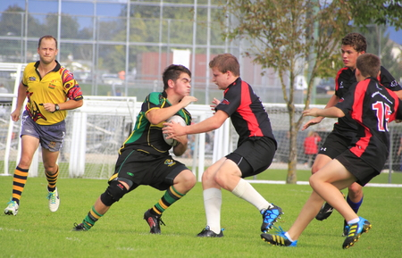 High School boys compete in a local rugby match on Canada