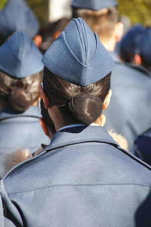 cadet blue: A female air cadet stands at attention during a Remembrance Day ceremony in Vancouver on November 11, 2014.