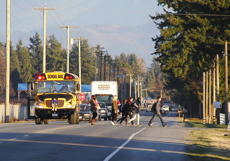 Children cross a busy street after leaving a school bus Editoriali