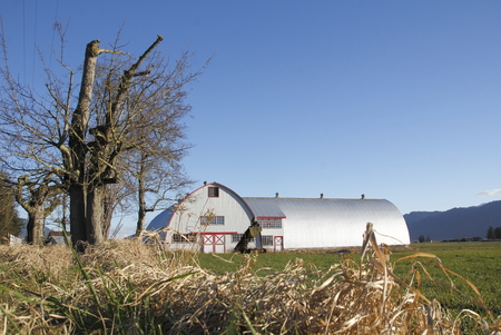 long lasting: A metal farm building with a round roof will withstand harsh weather conditions.