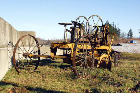 grader: A turn of the century industrial grader that was used to move rock and soil.