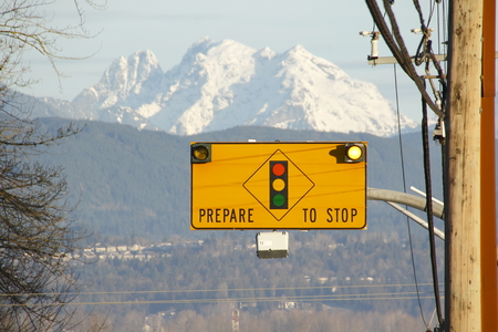 prepare: Flashing prepare to stop sign used to alert motorists. Stock Photo