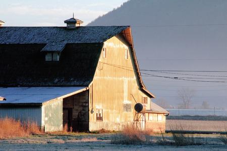 Strong morning light illuminates a barn