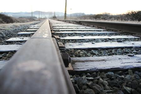 wood railroads: Low angle view of a single railway track