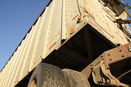 front end: A low angle view of the front end of an industrial container or trailer.