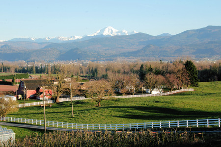 mt baker: Landscape view of farm land and Mount Baker in Washington State.