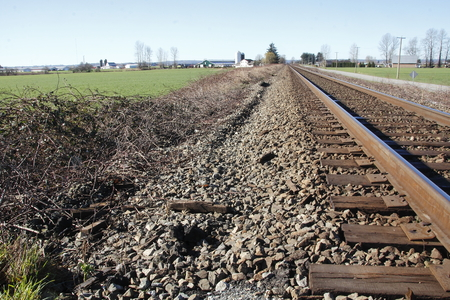 acreage: A single train track reaches out into a rural landscape
