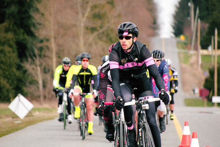 cycler: A male cyclist leads the pack during the Escape Velocity Spring Series cycling race near Aldergrove, British Columbia on March 1, 2015.