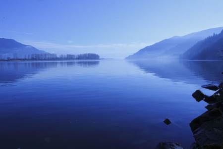 fraser river: The morning is just starting on a major river in southern British Columbia, Canada.
