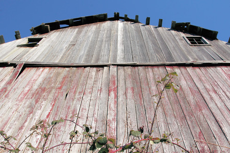 Low angle ground level view of an old barn.
