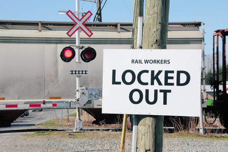 A generic workers Union sign applied to striking rail workers. Stock fotó