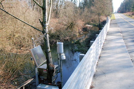 Zonne-energie wordt gebruikt voor milieu data te verzenden aan overheidsinstanties de controle van de waterkwaliteit.