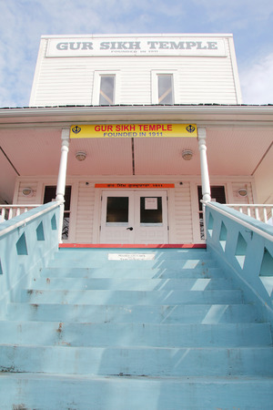 sikh: Front view of the oldest Sikh temple in North America, The Gur Sikh Temple, established in 1911 in Abbotsford, B.C., Canada.