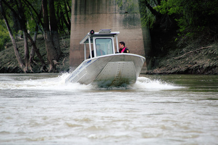 manitoba: A small speed boat is used to patrol the river in Winnipeg Manitoba on May 14 2015.