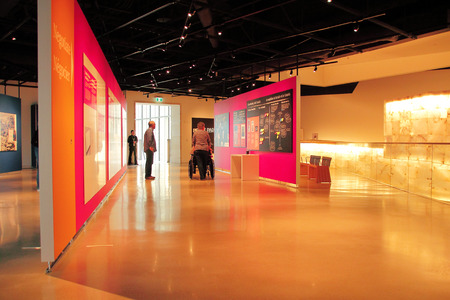 throughout: The interior of the Manitoba Human Rights Museum where the history of human rights are displayed throughout the building. Editorial